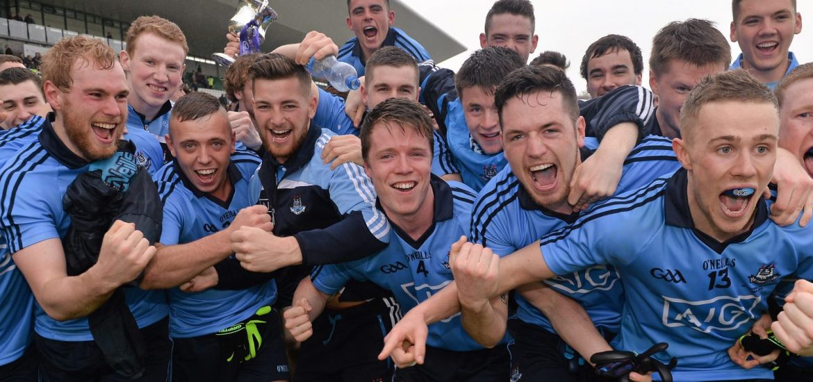 3 May 2014; Dublin players celebrate with the cup after the game. Cadbury GAA Football All-Ireland U21 Championship Final, Dublin v Roscommon, O'Connor Park, Tullamore, Co. Offaly. Picture credit: Ray McManus / SPORTSFILE