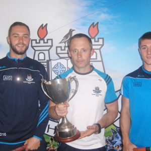 u21 hurling manager Joe Fortune with the Leinster trophy