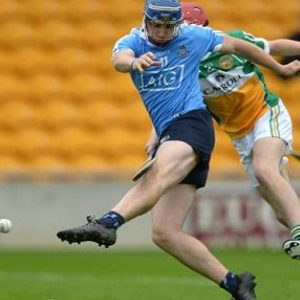 Sean Treacy kicks the ball to the Offaly net to give the Dubs lead for first time during game