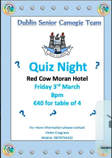 Camogie table quiz friends of dublin hurling for Table quiz dublin